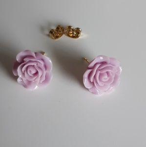Rose Stud Earrings Floral, Flower